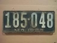 1925 Missouri 185 048 license plate DMV clear