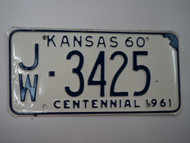 1960 KANSAS 1961 Centennial License Plate JW 3425