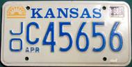 1988 JO Apr Kansas License Plate C 45656