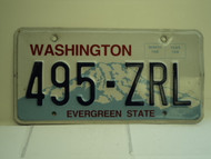 WASHINGTON Evergreen State License Plate 495 ZRL