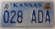 June 2010 KANSAS Johnson County License Plate 028-ADA