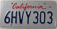 California License Plate 6HVY303