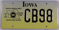 Oct 2001 Iowa Hearland Region License Plate CB98