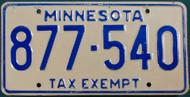 Minnesota 877-540 Tax Exempt License Plate