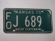 1975 KANSAS Wheat Centennial License Plate FO J 689