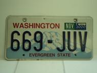 2000 WASHINGTON Evergreen State License Plate 669 JUV