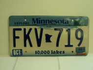 2003 MINNESOTA Explore 10,000 Lakes License Plate FKV 719