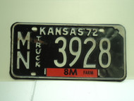 1972 KANSAS Farm Truck 8M License Plate MN 3928