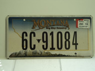 2013 MONTANA Big Sky License Plate 6C 91084
