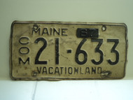 1962 1967 Tab MAINE Commercial Vacationland License Plate 21 633