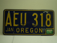 1974 OREGON License Plate AEU 318