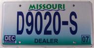 2007 Dec Missouri D9020-S Dealer License Plate