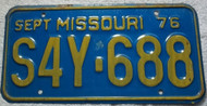 1976 Sept Missouri S4Y-688 License Plate DMV Clear
