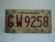 1966 ILLINOIS Land of Lincoln License Plate GW9258