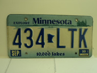 1999 MINNESOTA Explore 10,000 Lakes License Plate 434 LTK