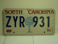 1986 SOUTH CAROLINA Palmetto License Plate ZYR 931