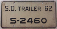 1962 SD South Dakota Trailer 5-2460 License Plate