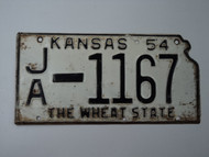 1954 KANSAS State Shaped License Plate JA 1167