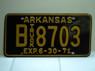 1971 ARKANSAS NOS Truck License Plate B 8703