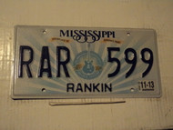 2013 MISSISSIPPI Birthplace of America's Music License Plate RAR 599