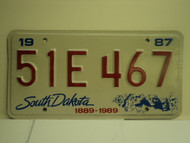 1987 SOUTH DAKOTA Centennial 1889 1989 License Plate 51E 467 1