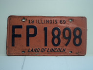 1969 ILLINOIS Land of Lincoln License Plate FP 1989