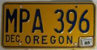 Dec 1985 Oregon MPA 396 License Plate