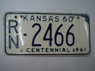 1960 KANSAS 1961 Centennial License Plate RN 2466