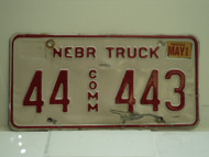 2002 NEBRASKA Commercial Truck License Plate 44 443