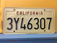 California License Plate 3Y46307