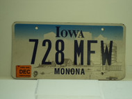 2006 IOWA License Plate 728 MFW