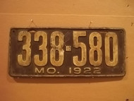 1922 Missouri 338 580 license plate DMV clear