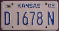2003 Kansas D 1678 N DEALER License Plate