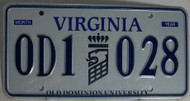 Virginia 0D1 030 Old Dominion University License Plates