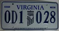 Virginia 0D1 030 Old Dominion University License Plates