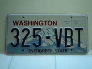 Washington Evergreen State License Plate 325 VBT
