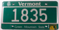 1987 July Vermont 1835 License Plate Green Mountain