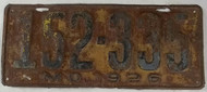1926 Missouri License Plate 152-335 DMV Clear