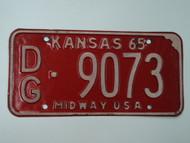 1965 KANSAS Midway USA License Plate DG 9073