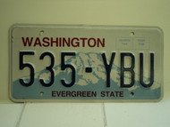 WASHINGTON Evergreen State License Plate 535 YBU