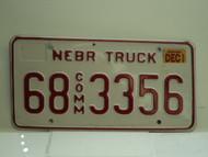 2002 NEBRASKA Commercial Truck License Plate 68 3356 1