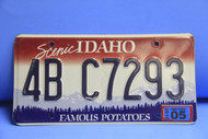2005 IDAHO Scenic Famous Potatoes License Plate 4B-C7293