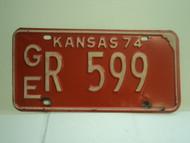 1974 KANSAS License Plate GE R 599