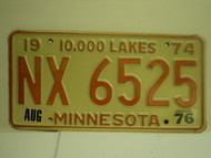 1974 1976 MINNESOTA 10000 Lakes License Plate NX 6525 1