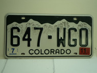 2011 COLORADO License Plate 647 WGO