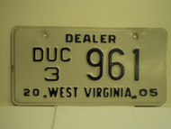 2005 WEST VIRGINIA Dealer Used Car License Plate DUC 3 961