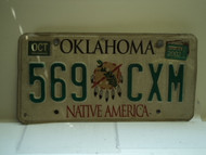 2002 OKLAHOMA Native America License Plate 569 CXM
