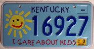 2008 Mar Kentucky License Plate 16927 Kids
