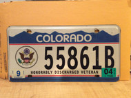 2004 Sep Colorado 55861B Honorably Discharged Veteran License Plate