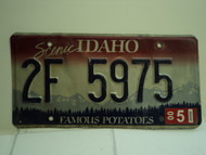 2000 IDAHO Famous Potatoes License Plate 2F 5975